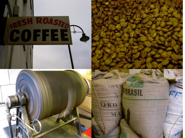 Shop sign, beans, roaster, sacks of coffee